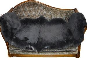 ムートンフリース短毛35ミリ 濃い色の灰色系2枚つなぎの画像