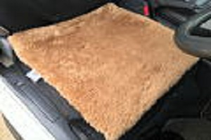 ブラウンカラー羊毛クッション43x43cmブラウンの画像